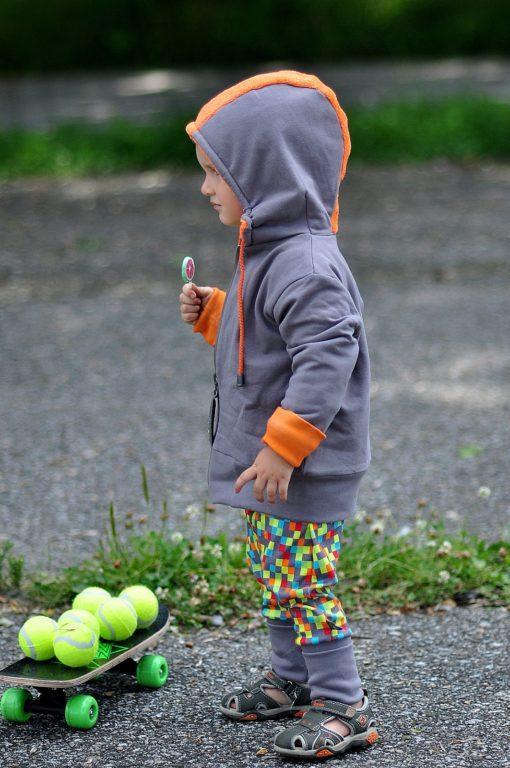 PUNK double-sided jacket orange+grey | longsleeve COLOUR jade+grey | harem pants SUMMER colour pixels+grey