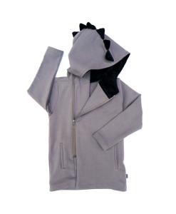 Dinosaur hood coat, gray with black, organic cotton